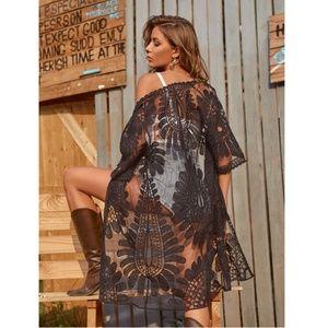 Black Lace Boho Coverup Kimono